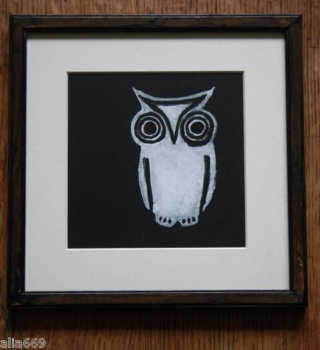 Gorgeous little white owl print...  quirky, British art at only £42.50... framed and glazed.... what a bargain....