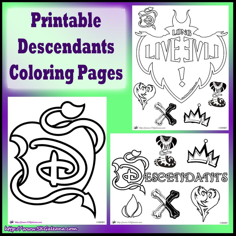 Free Disney Descendants Coloring Pages | Quinn\'s Own Board ...