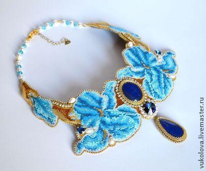 """Колье """"Ирина"""" - голубой,синий,белый,золотой,ирис,цветы,колье,лазурит,жемчуг"""