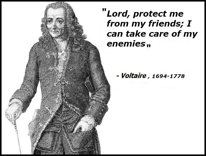 Voltaire S Quote About Asking God To Help Protect Him From His Friends While He Can Take Care Of His Enemy Voltaire Quotes Inspirational Quotes Life Quotes