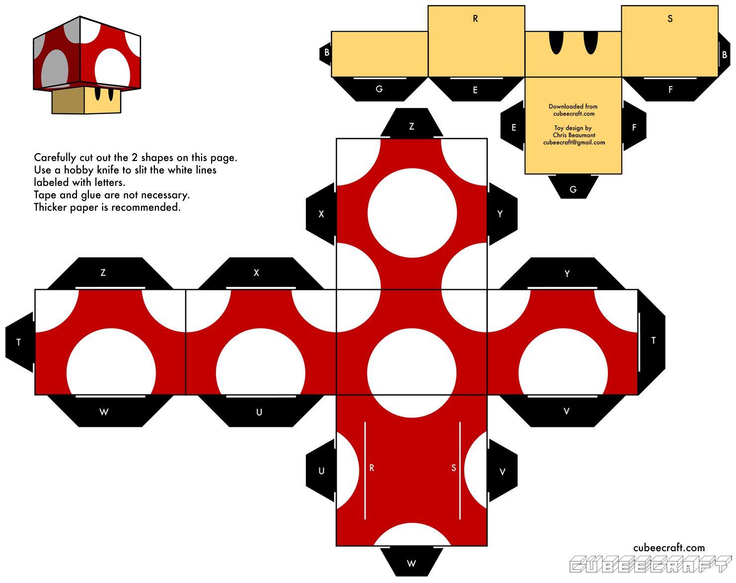 champi | 手工日 | Paper toys, Mario crafts, Paper crafts