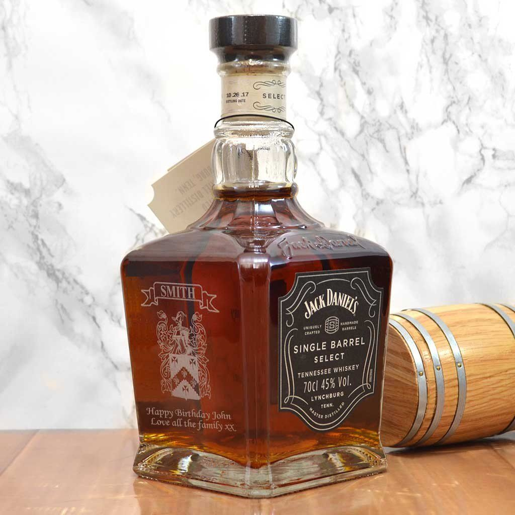 Engraved jack daniels single barrel whisky with your