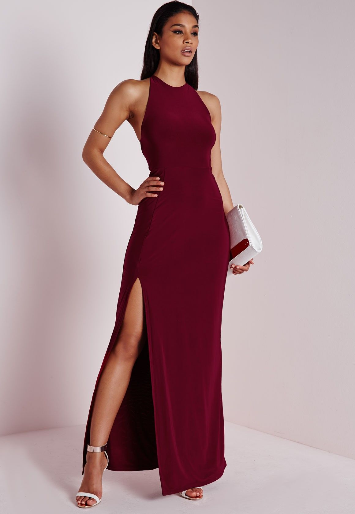 Missguided - Slinky Side Split Maxi Dress Burgundy
