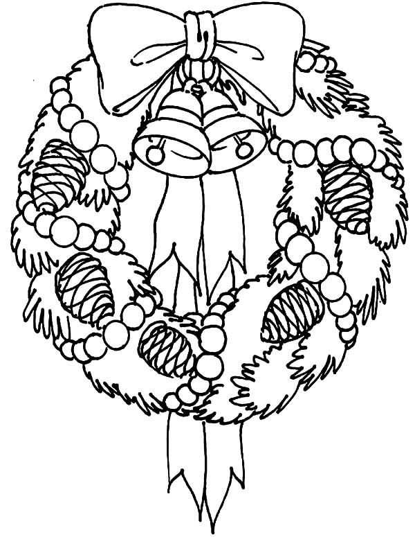 Christmas Wreaths Wreath Covered With Pine Fruit Coloring Pages