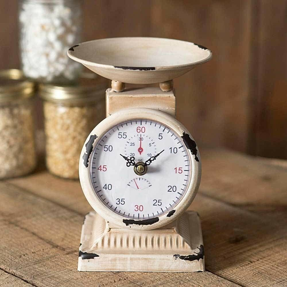 Farmhouse Kitchen Scale Clock Country Chippy Undisclosed