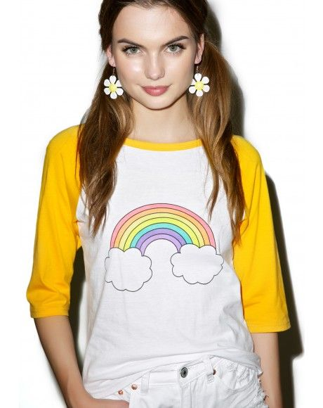 #DollsKill #Roller #Girl #lookbook #photoshoot #Glamorous #vintage #rainbow #raglan #shirt #yellow #sleeves