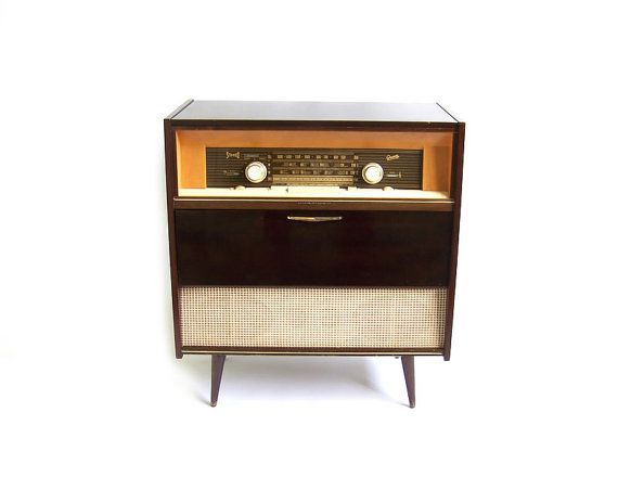 Vintage Stereo Cabinet Radio Record Player Retro Turntable ...