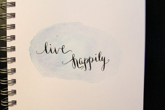 Live Happily Calligraphy with Watercolor by LetteredByKayla