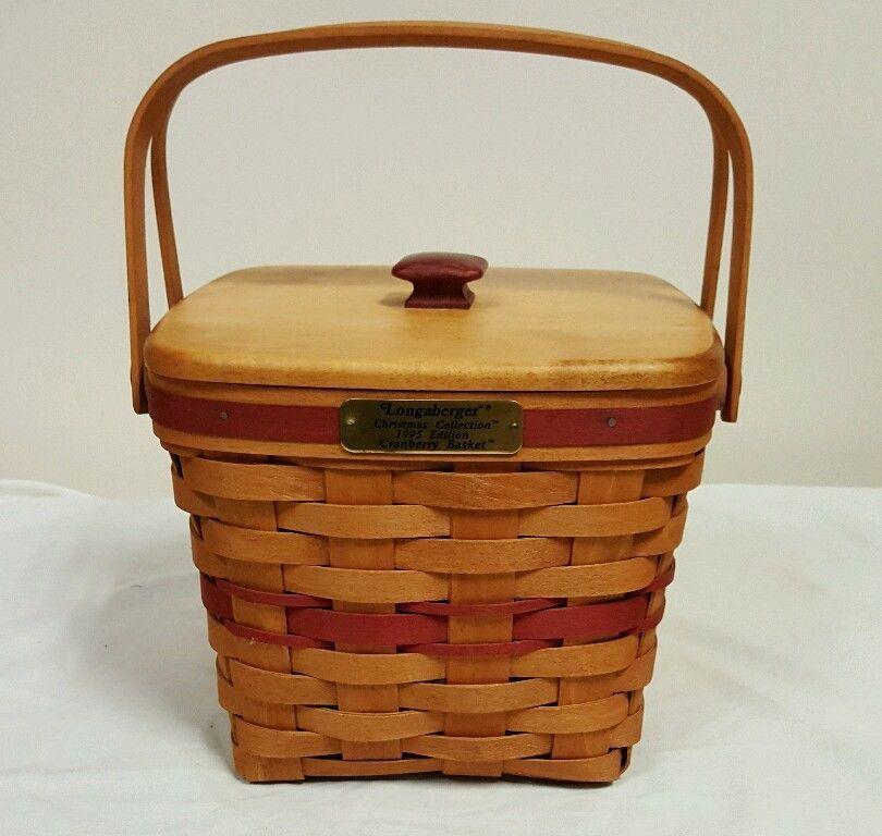 Longaberger Christmas Basket.Longaberger 1995 Cranberry Basket With Protector Lid