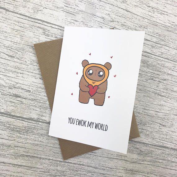 Ewok Valentines Day Card Star Wars Birthday Card Cute Cards In