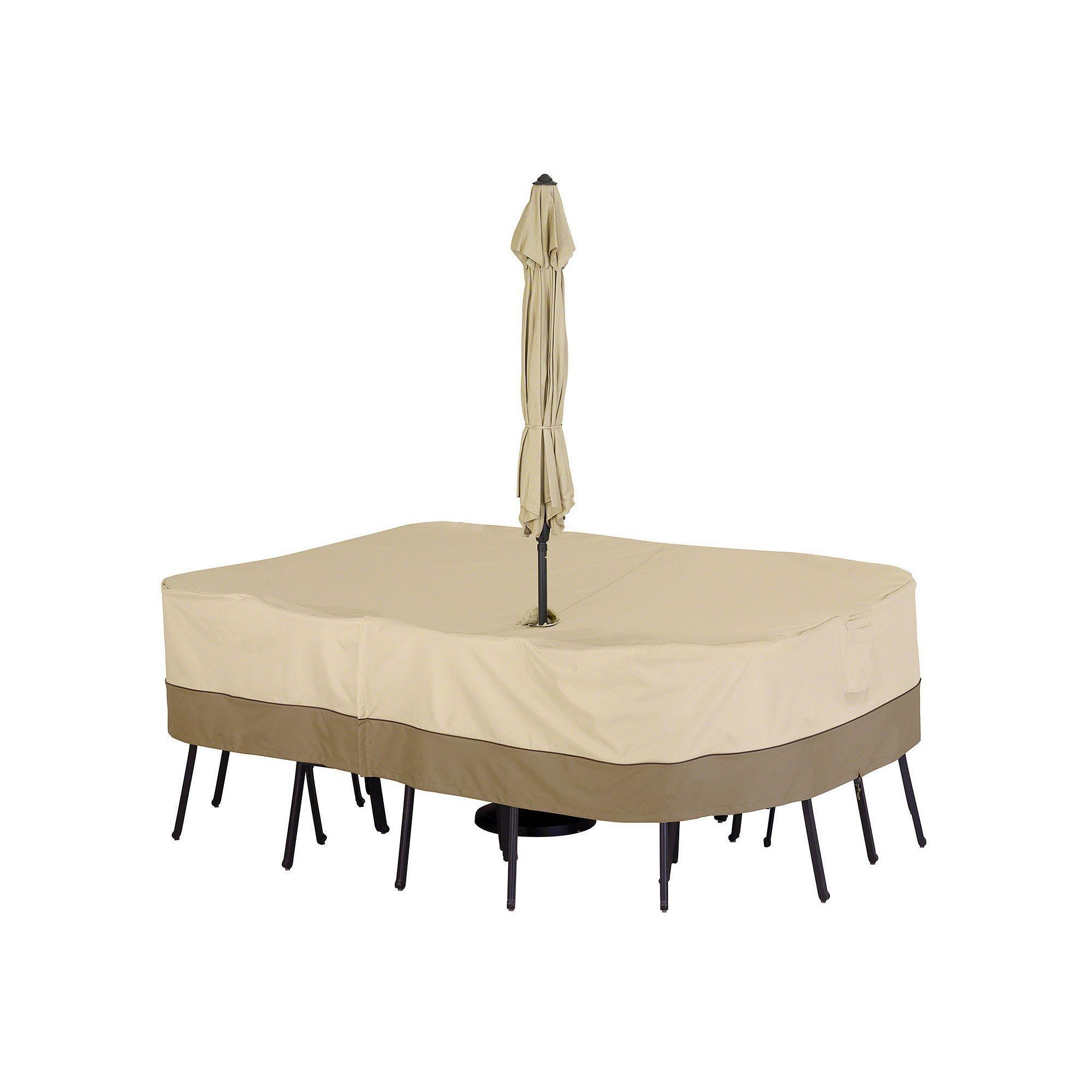 Outdoor Classic Accessories Veranda Large Rectangle Patio Table Cover U0026  Umbrella Hole, Beig/Green