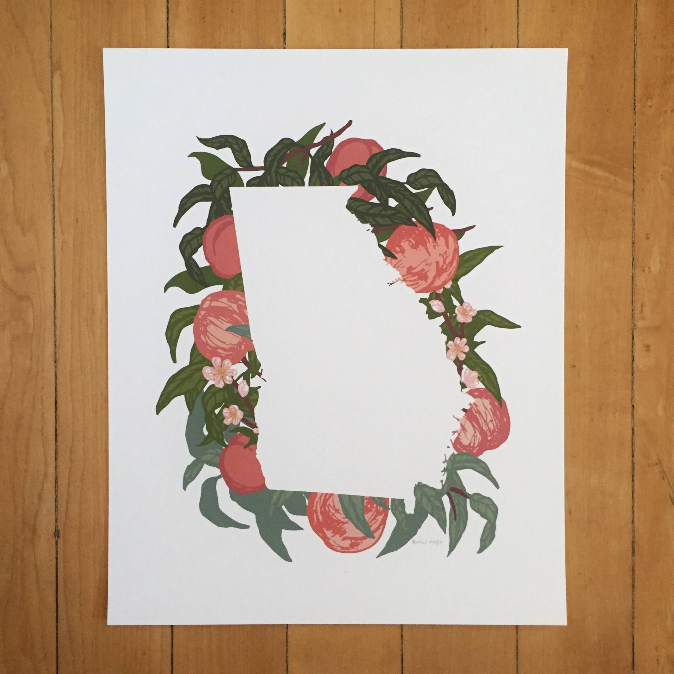 Georgia State Print - Peaches by MyWildBlueYonder on Etsy