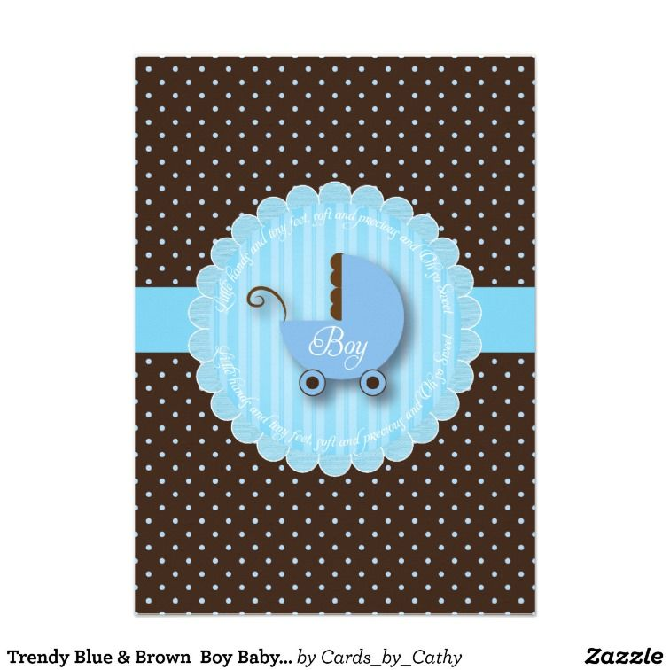 Trendy Blue & Brown Boy Baby shower Invitations | Boy baby showers ...