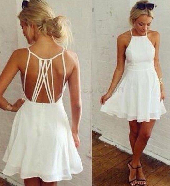 Summer women sexy spaghetti strap dresses halter backless casual white dress chiffon pleated mini dress $6.29