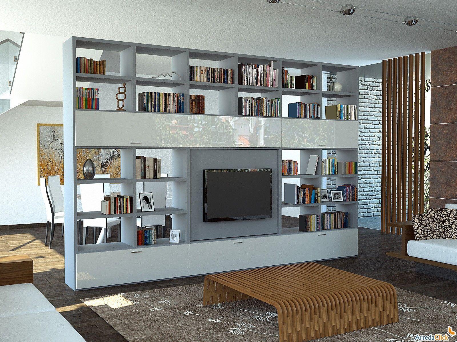Libreria Bifacciale Con Porta Tv.Risultati Immagini Per Ambienti Open Space Con Parete