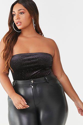 Plus Size Glitter Velvet Tube Bodysuit