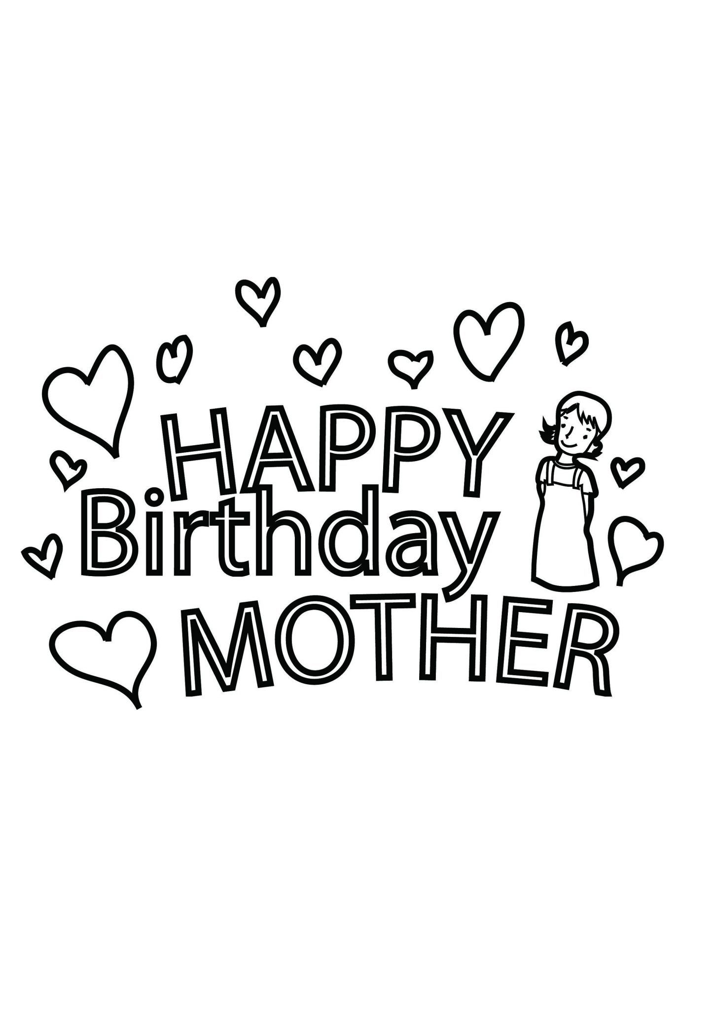 Happy Birthday Mom Coloring Pages In