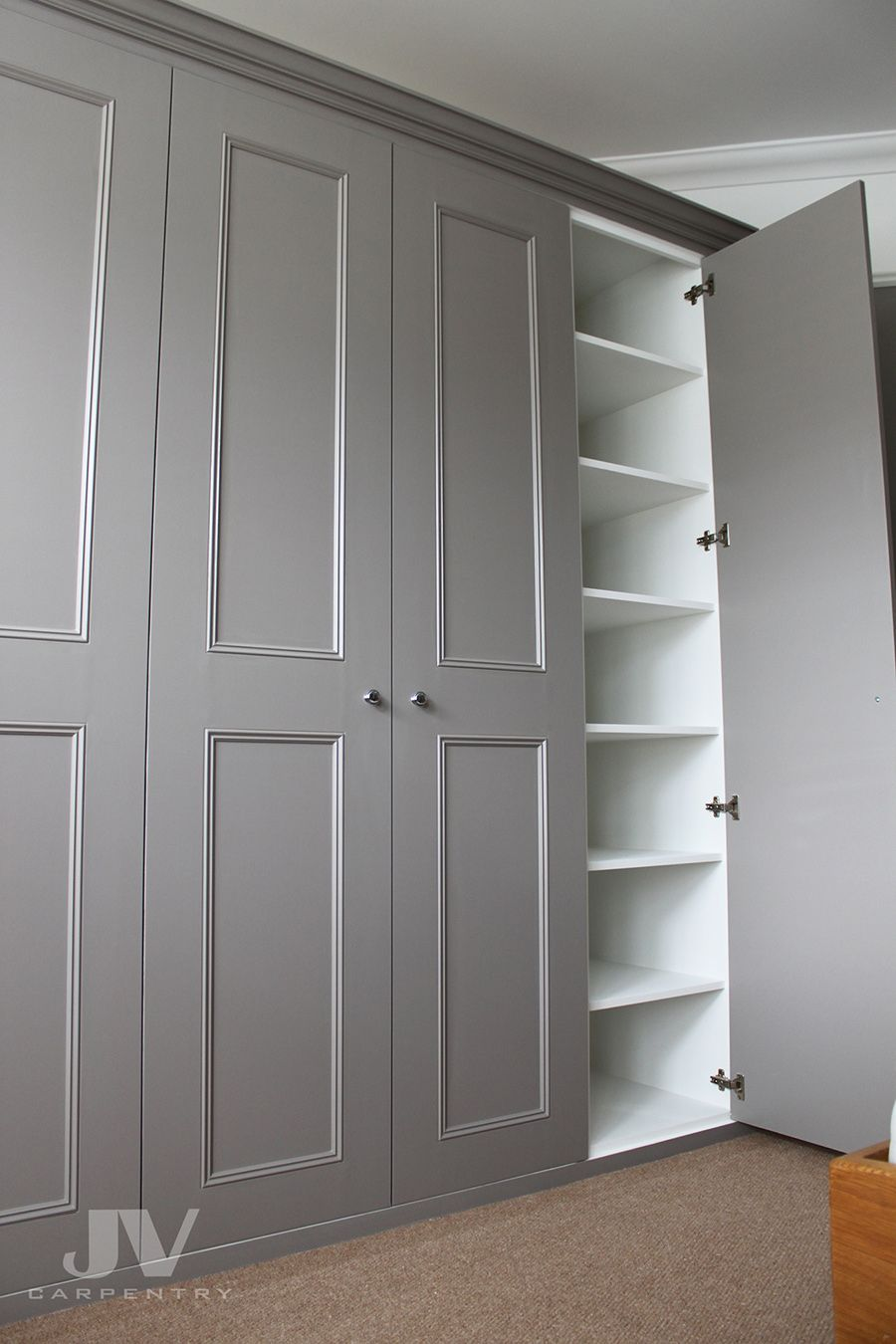grey built-in wardrobe
