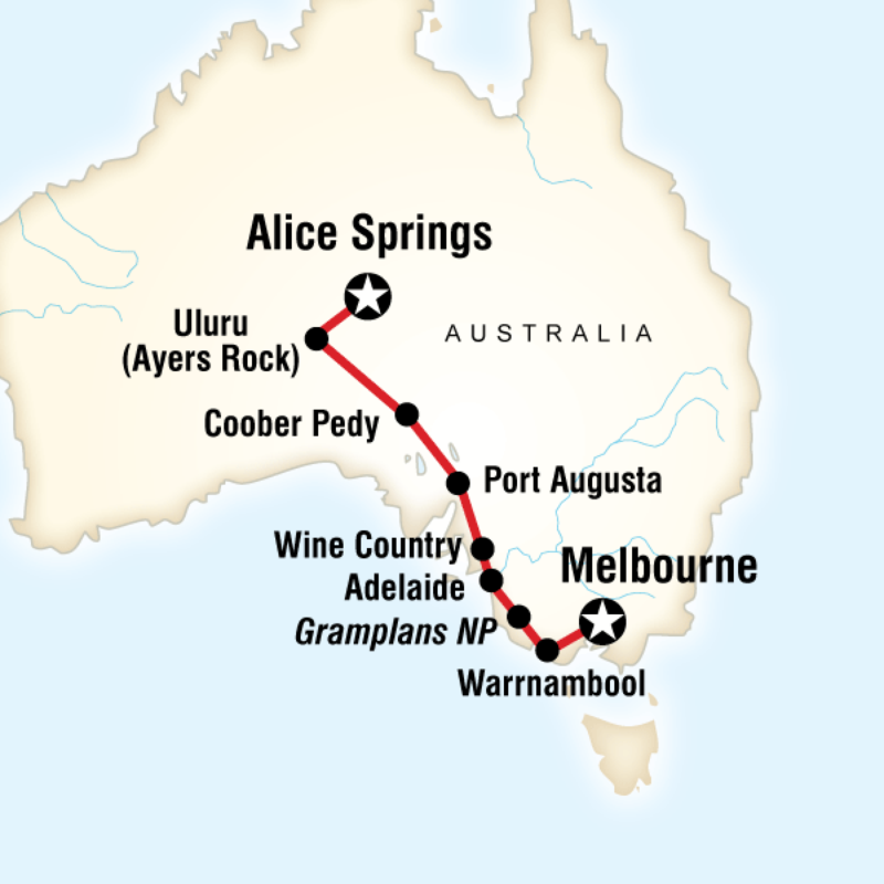 Map of the route for Outback to The Great Ocean Road in Style G