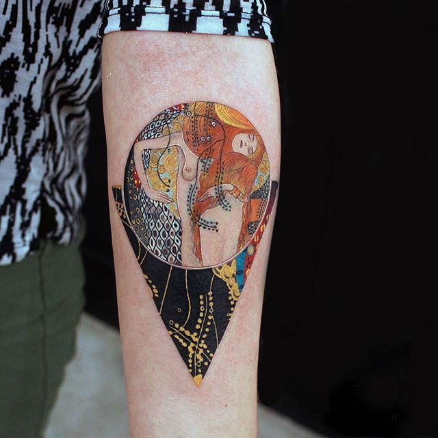 Single Needle Tattoo Machines Offer Incredible To Alexey Buzunov S Water Serpents I Alexeybuzunov T Klimt Tattoo Single Needle Tattoo Modern Art Tattoos