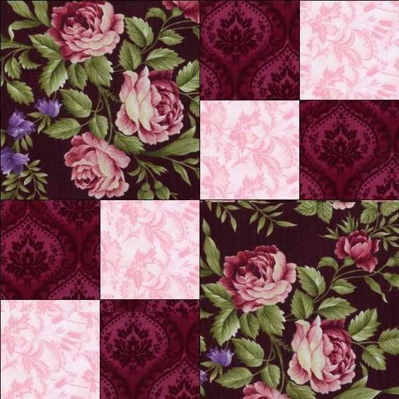 Giselle Black Pink Burgundy Rose Lavender Floral Pre-cut Quilt Kit Block Fabric
