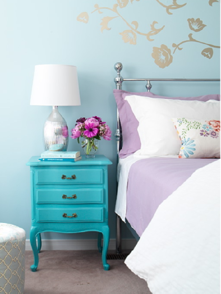 Gina Kates: Margot Austin - Turquoise blue vintage chest, silver lamp, bed and blue walls paint color.