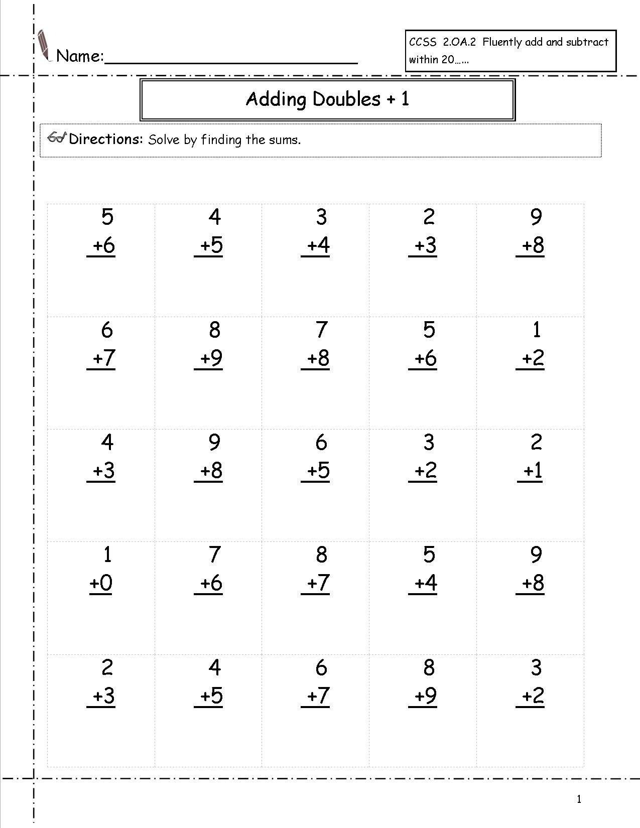 Free 1st Grade Addition Worksheets Pictures