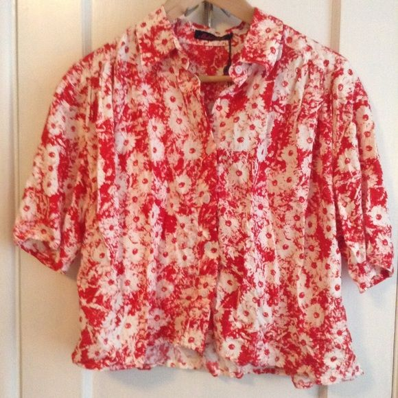 c9c9a280ed65 NWT Motel Rocks button down crop top Motel Rocks brand new red flower boxy  button down crop top. Also on depop. Motel Rocks Tops Button Down Shirts