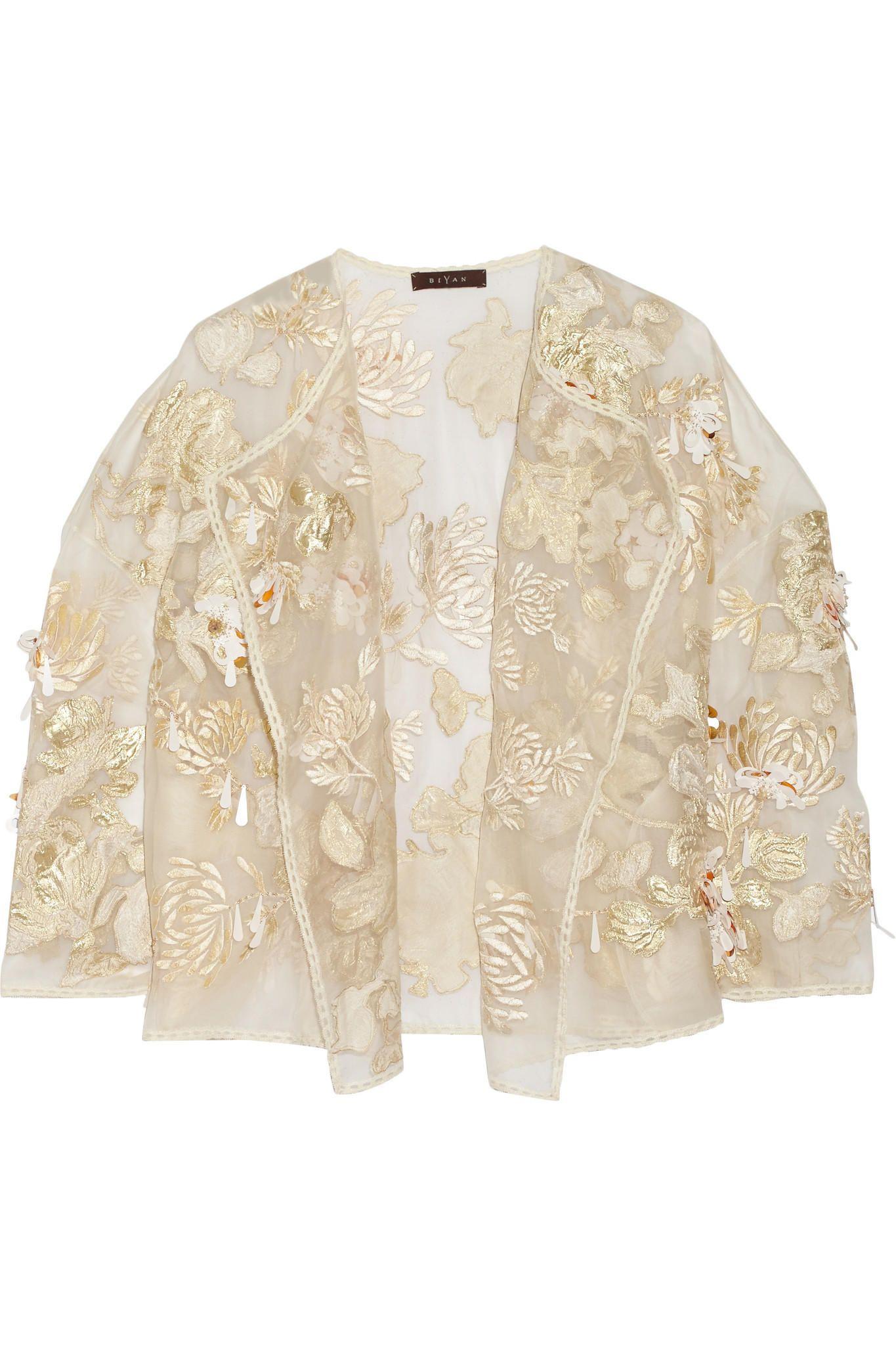 Biyan - Kiku embellished brocade and silk-organza jacket