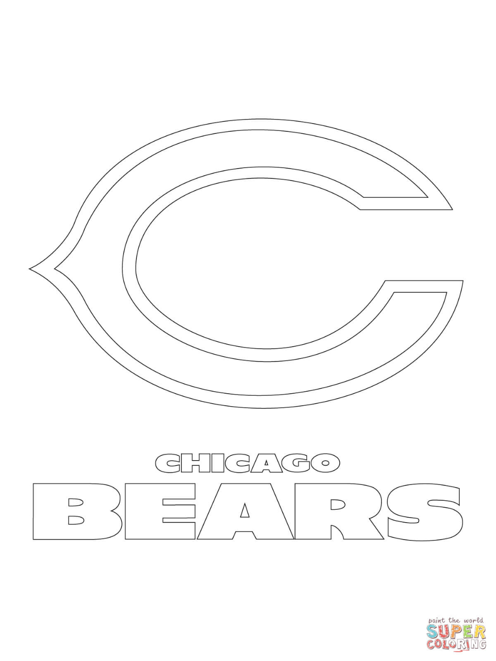 Chicago Bears Logo Coloring Page Free Printable Coloring Pages Coloring Home In 2020 Bear Coloring Pages Chicago Bears Logo Sports Coloring Pages