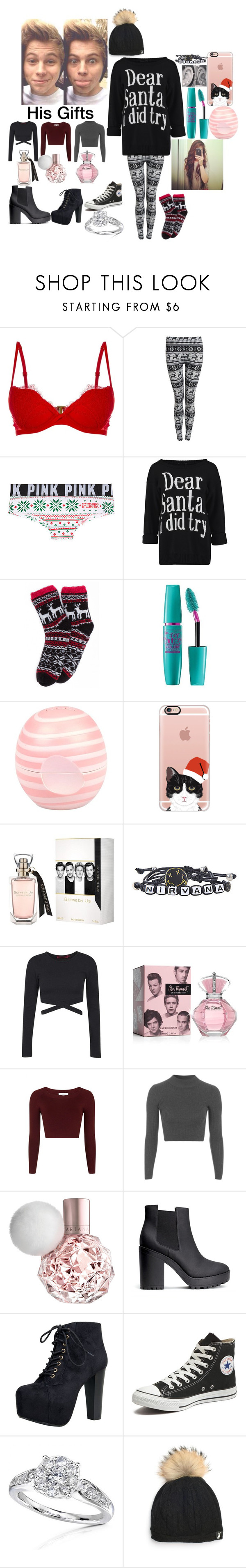 """""""Christmas with Luke"""" by infinitygangster ❤ liked on Polyvore featuring La Perla, Maybelline, River Island, Casetify, Boohoo, Topshop, H&M, Speed Limit 98, Converse and Allurez"""