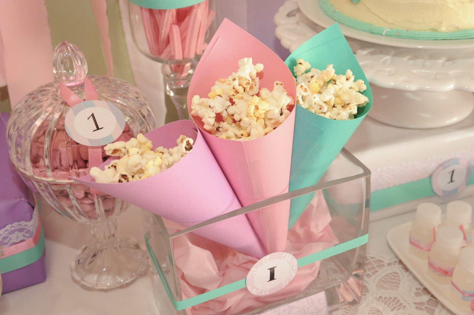 pink popcorn cones - Google Search | Princess party catering ...