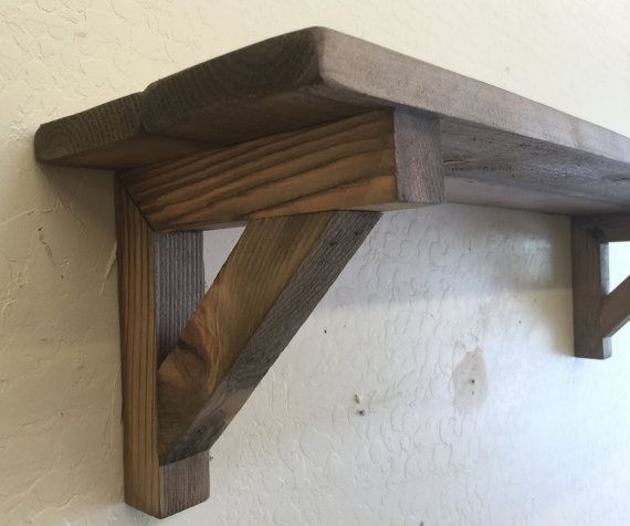Primitive Wall Shelf Decorative Wooden With Matching Brackets Reclaimed Wood