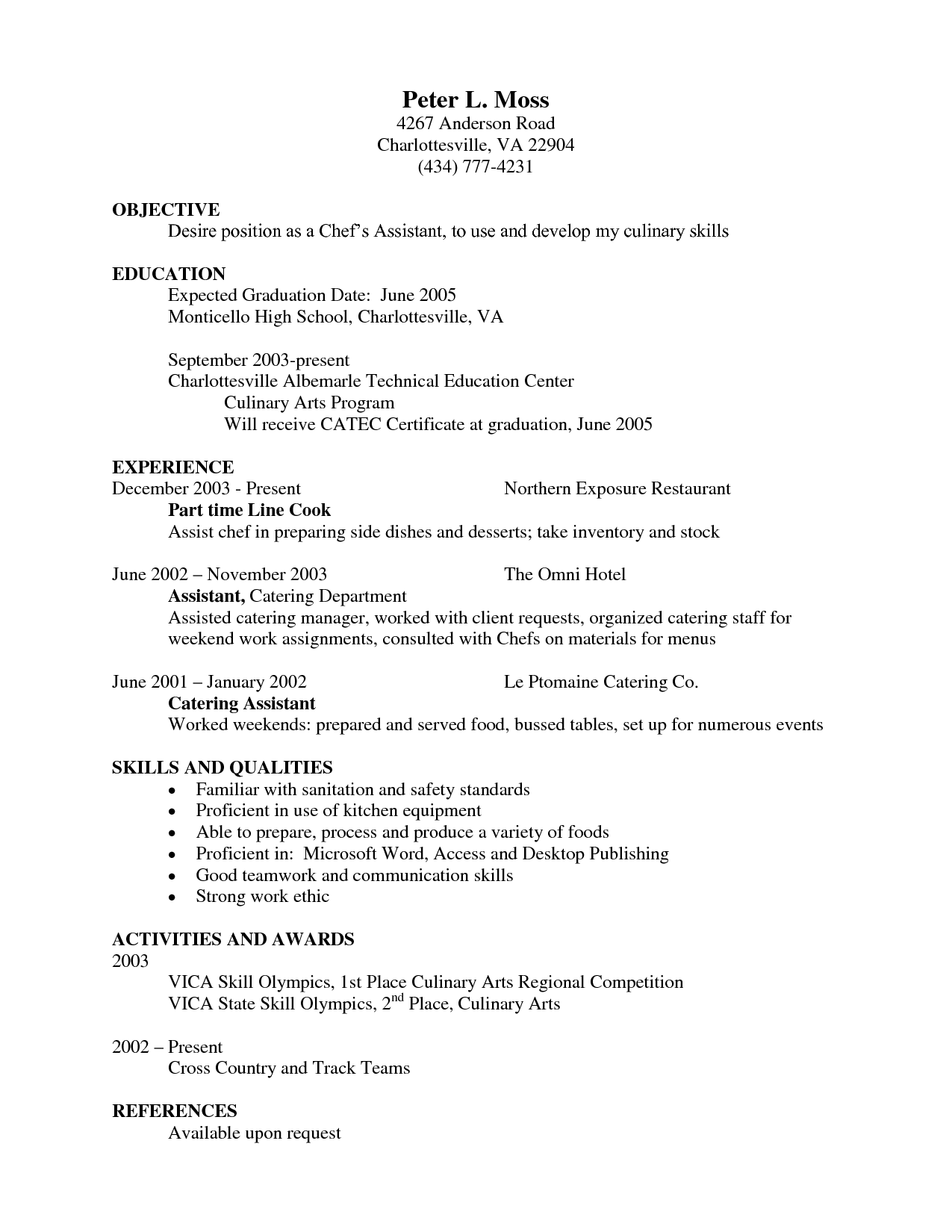 Cook Example Resume Sample For Cooks Cover Letter Chef Resume Resume Skills Resume Template