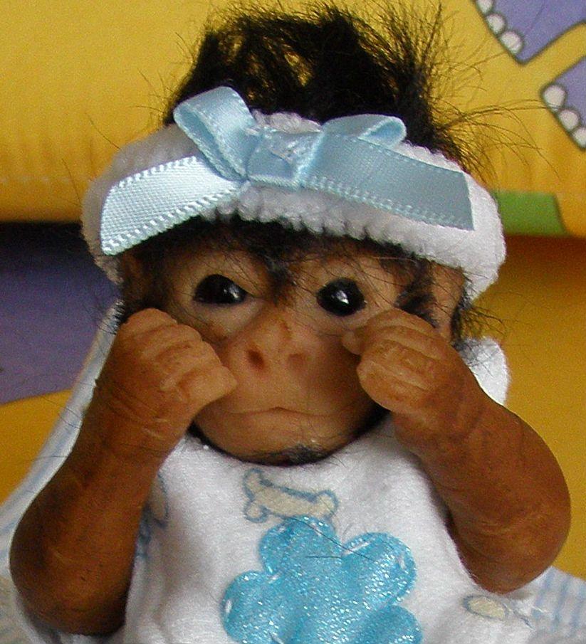 "Miniature 5"" Baby Monkey Polymer Clay"