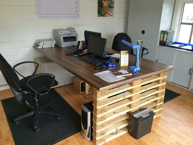 muebles de palets escritorio de oficina con extremos de europalets