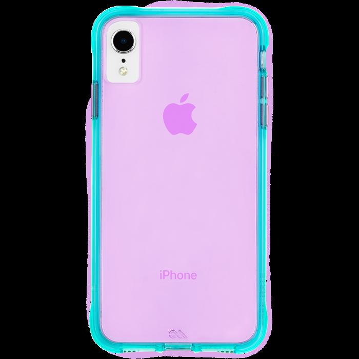 Iphone Xr Tough Neon Turquoise Purple Neon Back Geometric Iphone Case Iphone Animal Iphone Case