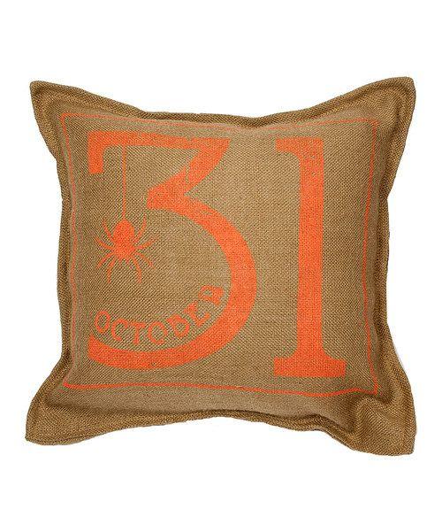 Look at this Natural 'October 31' Burlap Throw Pillow on #zulily today!