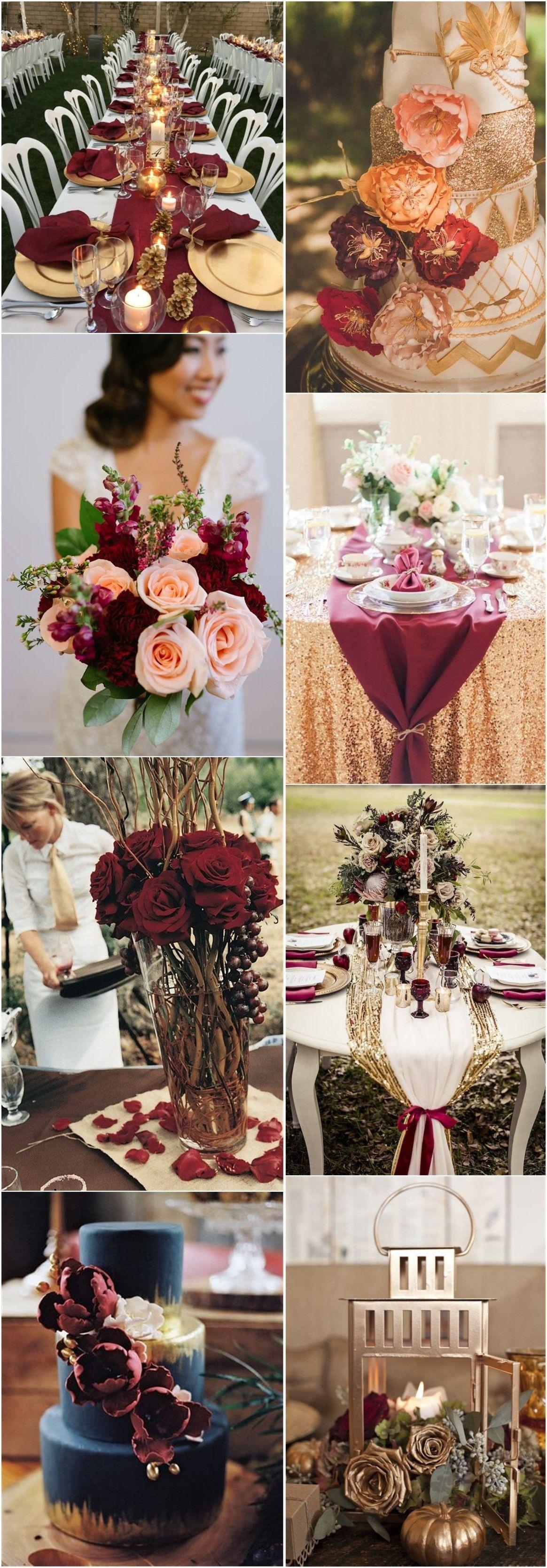 Wedding decoration ideas burgundy   Romantic Burgundy and Rose Gold Fall Wedding Ideas  Wedding