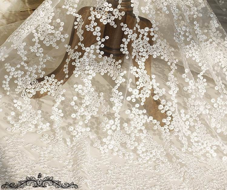 Tissus fleuri gaze dots BLANC faible 150cm x0.5 mètre LL283 : Tissus à thème par bijouxabc