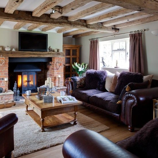 Country Living Room Decorating Ideas: Purple And Wood Country Living Room