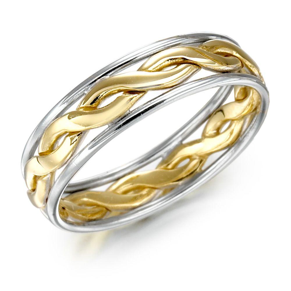 Irish Wedding Ring - Mens Gold Two Tone Celtic Knot Wedding Band ...