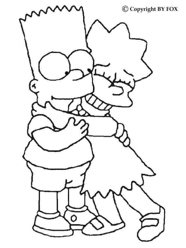 Immagini Dei Simpson Da Colorare.The Simpson Family Coloring Pages Bart And Lisa Az Colorare