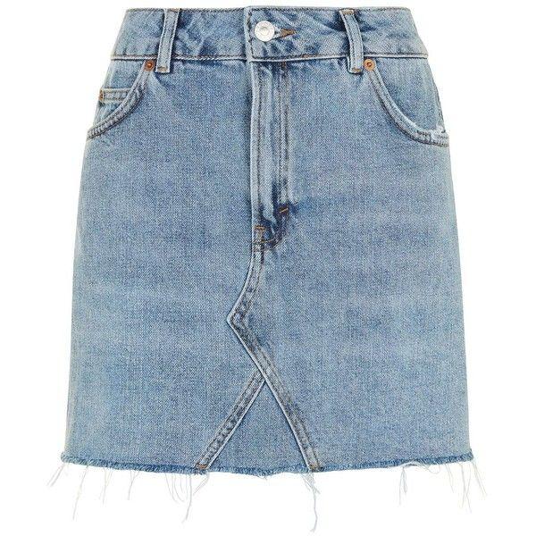 Topshop Moto Mini Denim Skirt (255 DKK) ❤ liked on Polyvore featuring skirts, mini skirts, mid stone, blue denim skirt, denim mini skirt, denim skirt, short blue skirt and short skirts