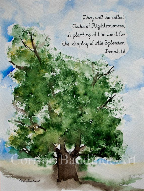 Watercolor painting of Old Oak Tree with Bible verse by ...