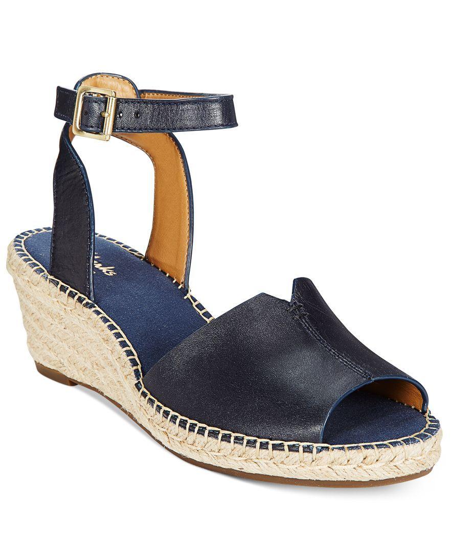 Clarks Artisan Women's Petrina Selma Espadrille Wedge Sandals- Black