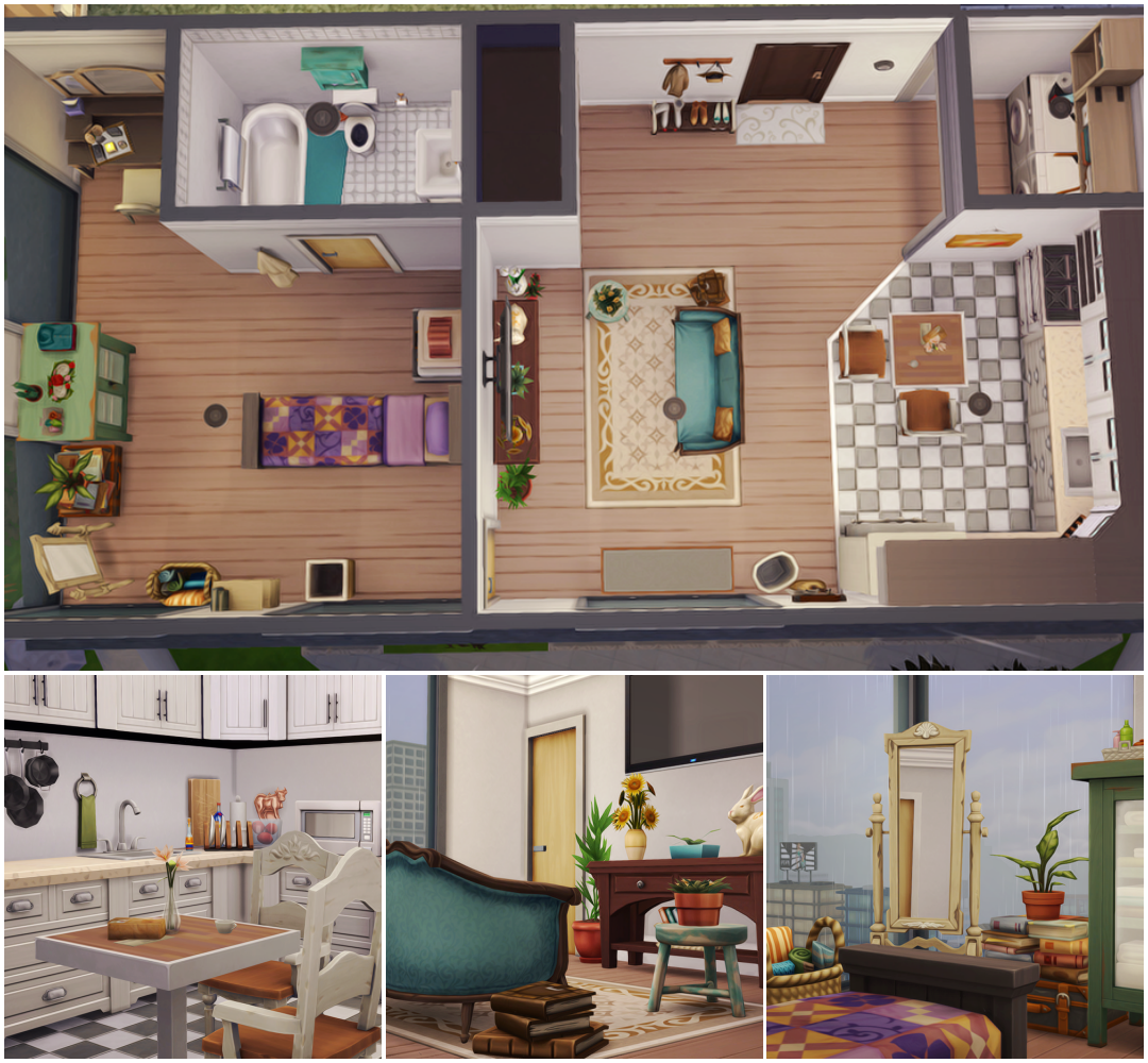 Flauratea Cosy Single Apartment Just A Little Apartment For A Single Sim Placed On The 1310 21 Chic Street Sims House Sims House Design Sims 4 House Design