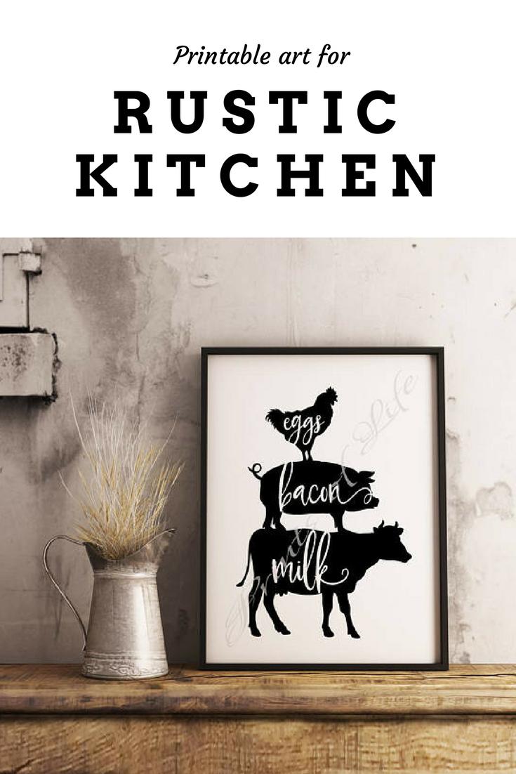 FARMHOUSE Country Decor ~ Eggs Bacon Milk Steak Kitchen Rustic Wall Art Print