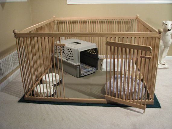 Furniture-quality Small Dog Exercise Pen - READY-to-FINISH Solid Red OAK, floor included.- Or for if we ever have puppies again