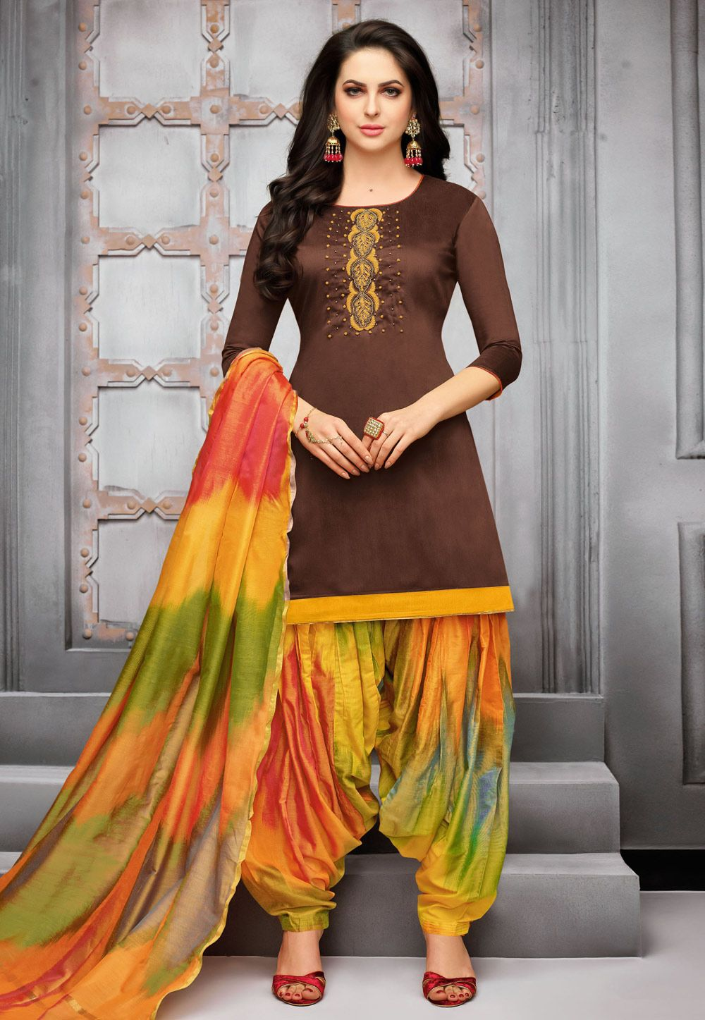 3cc76a2f20 Buy Brown Silk Patiala Suit 156487 online at lowest price from huge  collection of salwar kameez at Indianclothstore.com.